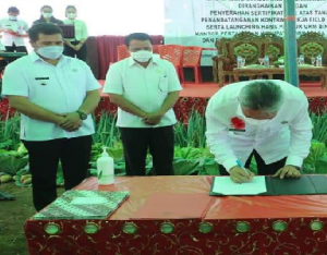 Pemerintah Kabupaten Minahasa Selatan (Minsel) melakukan Penandatangan Nota Kesepahaman Reforma Agraria tahun 2021